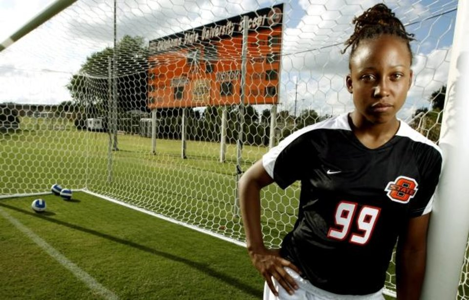 Photo -  Yolando Odenyo, pictured during her Oklahoma State playing days in 2007, is now the girls director of coaching at the Tulsa Soccer Club. [OKLAHOMAN ARCHIVES]