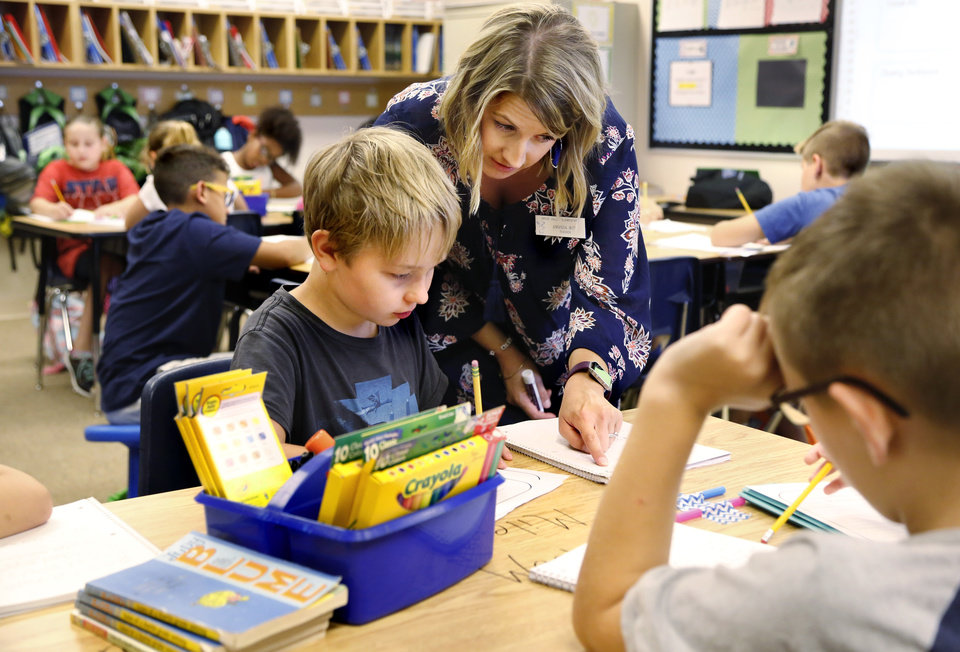 Photo -  Teacher Amanda Witt helps a student with a class assignment at Grove Valley Elementary School.  [Photo by Jim Beckel, The Oklahoman Archives]
