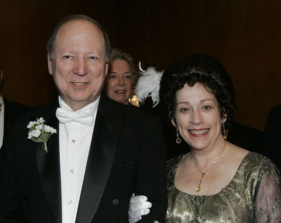 Photo - Edward S. Haskell and his wife, Naomi, pose for a photo at the Oklahoma Centennial Statehood Inaugural Ball, Saturday, Nov. 17, 2007, at the Guthrie Scottish Rite Masonic Center, in Guthrie, Okla. Mr. Haskell is the great grandson of Oklahoma's first governor, Gov. Charles Haskell and he played the role of Gov. Haskell in the Oklahoma Centennial's re-inactment of Oklahoma becoming a state 100 years ago Nov. 16, 1907. The Haskells curently live in Rhode Island. By Bill Waugh, The Oklahoman