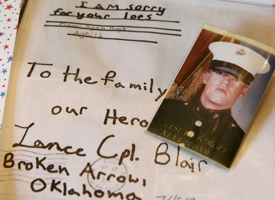 Photo - It's been 10 years since Lance Cpl. Thomas A. Blair died in Iraq. The Broken Arrow Marine was the first Oklahoman to die in the war. His dad, Al Blair Jr. and his wife, Faye, talked about his death in battle at their home in Gravette, Ark. Photo by Jim Beckel, The Oklahoman  Jim Beckel