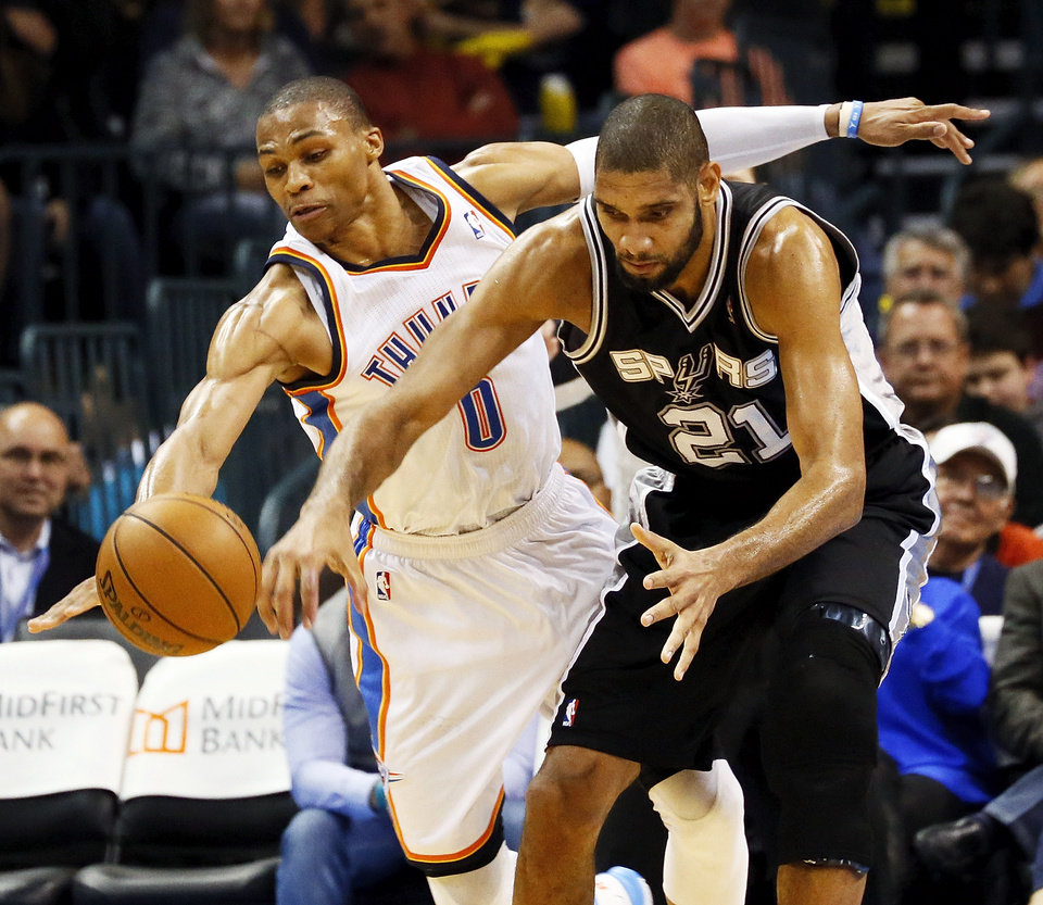 Oklahoma City's Russell Westbrook (0) steals the ball from San Antonio's Tim Duncan (21) during an NBA basketball game between the Oklahoma City Thunder and the San Antonio Spurs in Oklahoma City Monday, Dec. 17, 2012. Oklahoma City won, 107-93. Photo by Nate Billings, The Oklahoman