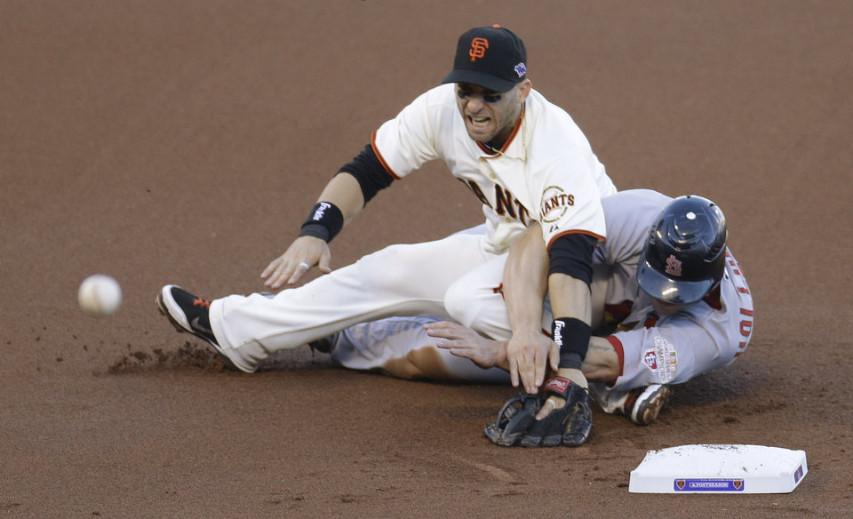 Photo -   San Francisco Giants second baseman Marco Scutaro grimaces as his leg is caught under a sliding St. Louis Cardinals' Matt Holliday on a double play attempt during the first inning of Game 2 of baseball's National League championship series Monday, Oct. 15, 2012, in San Francisco. (AP Photo/Eric Risberg)