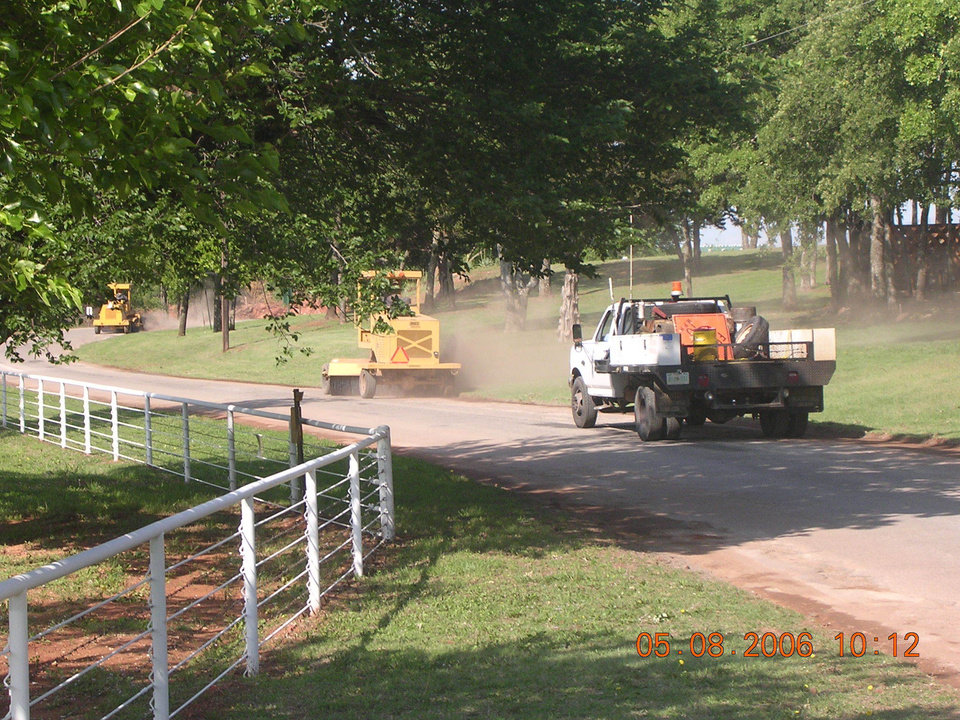 Workers prepare a section of Charter Oak Road in Logan County District 1 for resurfacing. Community Photo By: Mary Murphey Submitted By: Mark,