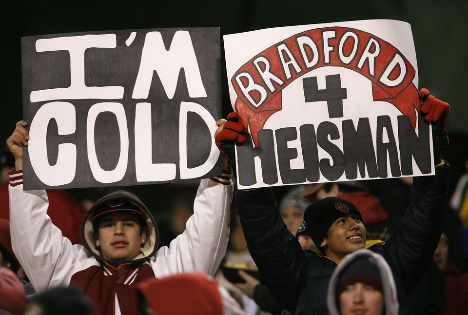 Photo - Sooner fans support their team during the first half of the Big 12 Championship college football game between the University of Oklahoma Sooners (OU) and the University of Missouri Tigers (MU) on Saturday, Dec. 6, 2008, at Arrowhead Stadium in Kansas City, Mo. 
