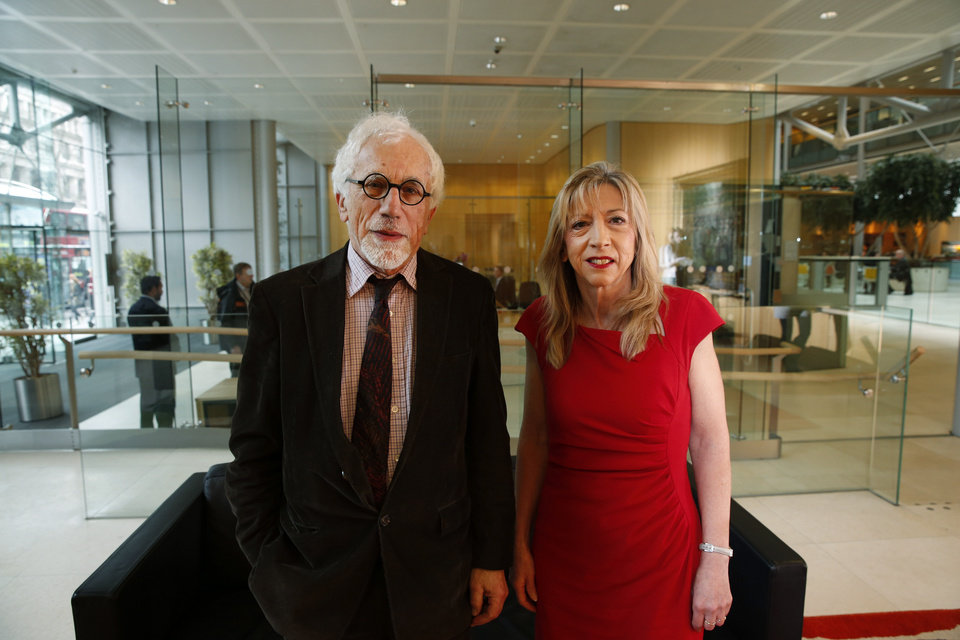 Photo - Joe Herbert, left, Emeritus Professor of Neuroscience at the University of Cambridge and Barbara Sahakian, right, professor of Clinical Neurophychology at the same university, pose prior to a news conference to announce the results of a new study in central London, Monday, Feb. 17, 2014. A saliva test for teenage boys with mild symptoms of depression could help predict those who will later develop major depression, the new study says. Researchers who measured cortisol levels in teenagers found that boys with high levels of the hormone and mild depression symptoms were 14 times more likely to later suffer from clinical depression than those with low levels. Herbert said: