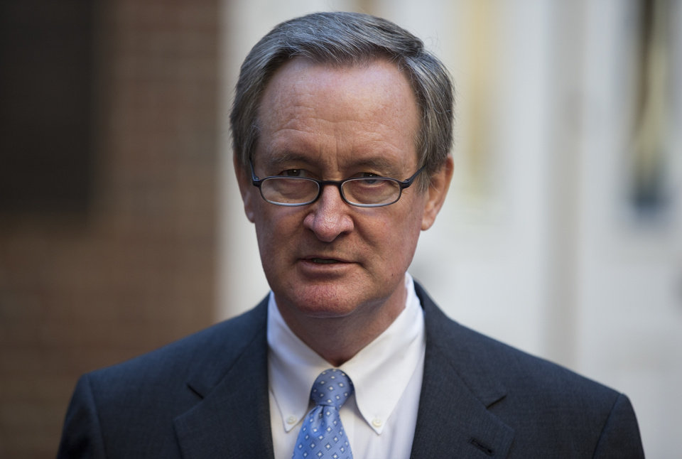 Sen. Michael Crapo, R-Idaho speaks outside Alexandria General District Court in Alexandria, Va., Friday, Jan. 4, 2013, after pleading guilty Friday to a misdemeanor first-offense drunken driving charge. In exchange for his plea Friday, prosecutors dropped a charge of failing to obey a traffic signal. Crapo received a $250 fine and a 12-month suspension of his driver's license and must complete an alcohol safety program.  (AP Photo/ Evan Vucci)