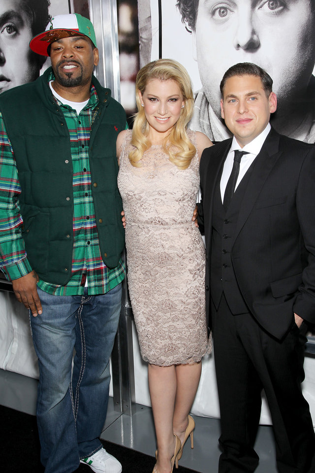 Photo - Method Man, left, Ari Graynor, center, and Jonah Hill pose at the premiere of their film,