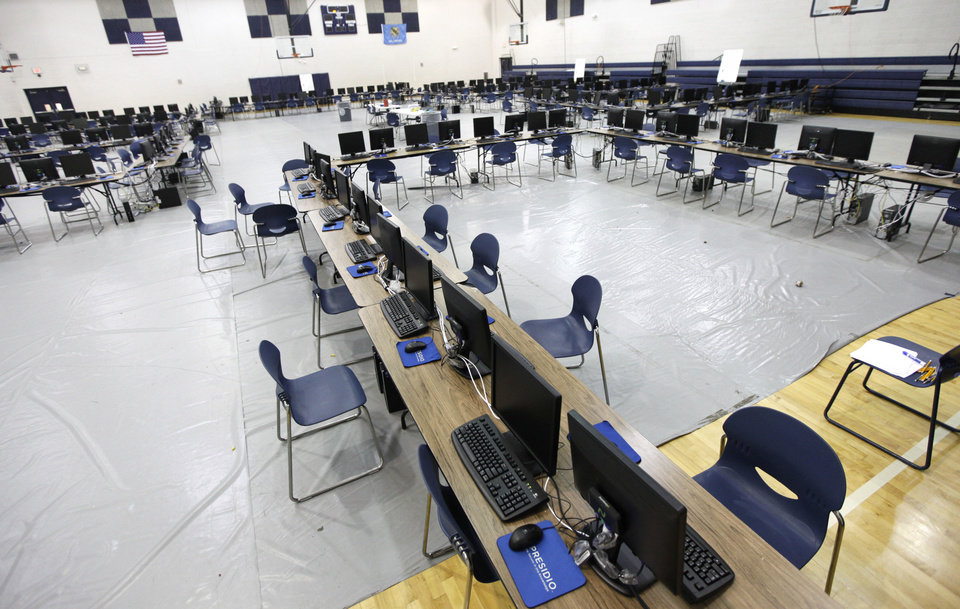 These computer testing stations are set up in the gym at Edmond North High School in Edmond, OK, Tuesday, April 30, 2013. Students who were supposed to take tests today cannot use the computers because the server crashed, so now the computers sit unused. By Paul Hellstern, The Oklahoman