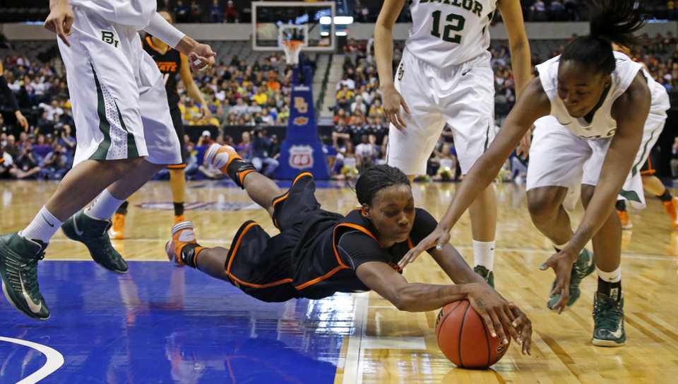 Photo - Oklahoma State's Toni Young (15) dives for the ball beside Baylor's Jordan Madden (3) during the Big 12 tournament women's college basketball game between Oklahoma State University and Baylor at American Airlines Arena in Dallas, Sunday, March 10, 2012.  Oklahoma State lost 77-69. Photo by Bryan Terry, The Oklahoman