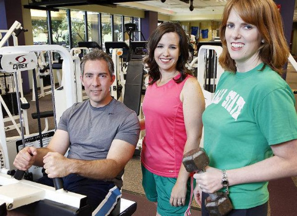 From left, Bob Doucette, Jenni Carlson and Julie Bisbee in the OPUBCO fitness center. All three have gotten in great shape in recent years. <strong>David McDaniel - The Oklahoman</strong>