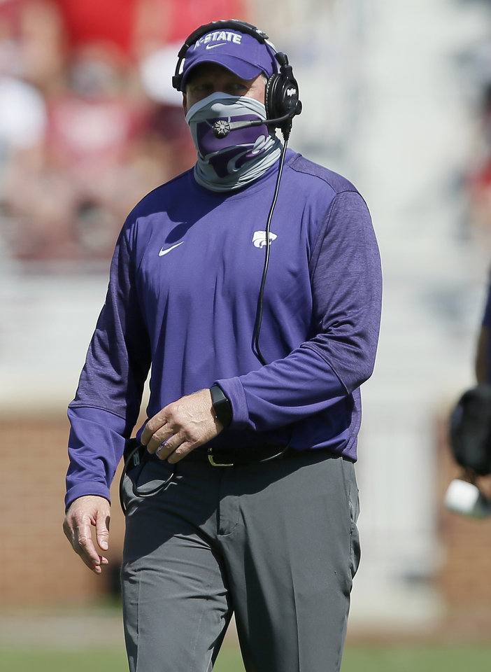 Photo - Kansas State coach Chris Klieman during a college football game between the University of Oklahoma Sooners (OU) and the Kansas State Wildcats at Gaylord Family-Oklahoma Memorial Stadium in Norman, Okla., Saturday, Sept. 26, 2020. Kansas State won 38-35. [Bryan Terry/The Oklahoman]