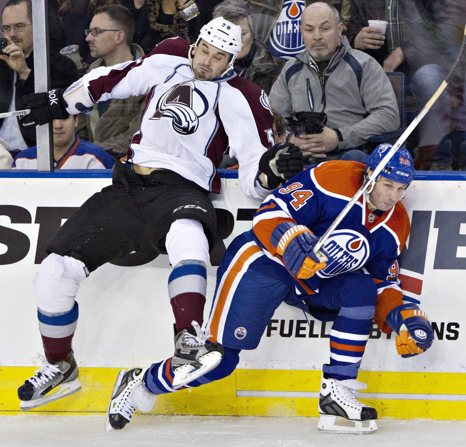 Colorado Avalanche's Patrick Bordeleau (58) misses the check on Edmonton Oilers' Ryan Smyth during the second period of their NHL hockey game, Monday, Jan. 28, 2013, in Edmonton, Alberta. (AP Photo/The Canadian Press, Jason Franson)