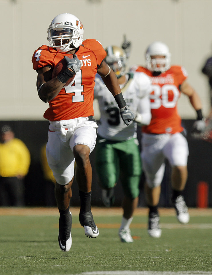 OSU\'s Justin Gilbert (4) returns a kick for a touchdown in the fourth quarter during the college football game between the Oklahoma State University Cowboys (OSU) and the Baylor University Bears at Boone Pickens Stadium in Stillwater, Okla., Saturday, Nov. 6, 2010. OSU won, 55-28. Photo by Nate Billings, The Oklahoman