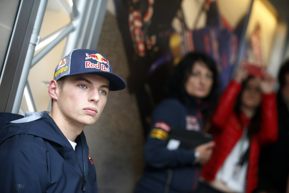 Photo - Dutch driver Max Verstappen during a news conference at the Spa-Francorchamps circuit, Belgium, Friday, Aug. 22, 2014. Max Verstappen will become the youngest ever F1 driver when he makes his debut at the age of 17 in next year's championship replacing Scuderia Toro Rosso driver Jean-Eric Vergne of France. The Belgium Formula One Grand Prix will be held on Sunday. (AP Photo / Luca Bruno)