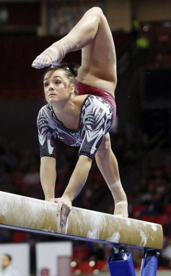 Photo -  NCAA all-around champion Maggie Nichols wears a leotard inspired by actress Allison Janney. [Nate Billings/The Oklahoman]