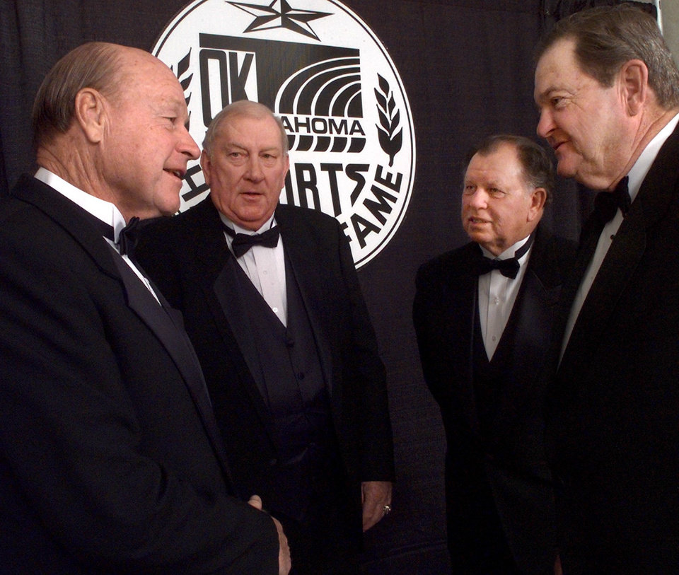 Left to right: Inductees Jerry Tubbs, Don Haskins, Orville Moody, and Bob Barry talk during the Oklahoma Sports Hall of Fame banquet.
