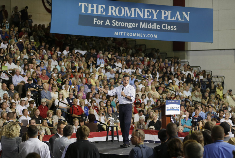 Photo -   Republican presidential candidate and former Massachusetts Gov. Mitt Romney speaks to supporters during a rally Friday, Sept. 21, 2012, in Las Vegas. (AP Photo/Julie Jacobson)