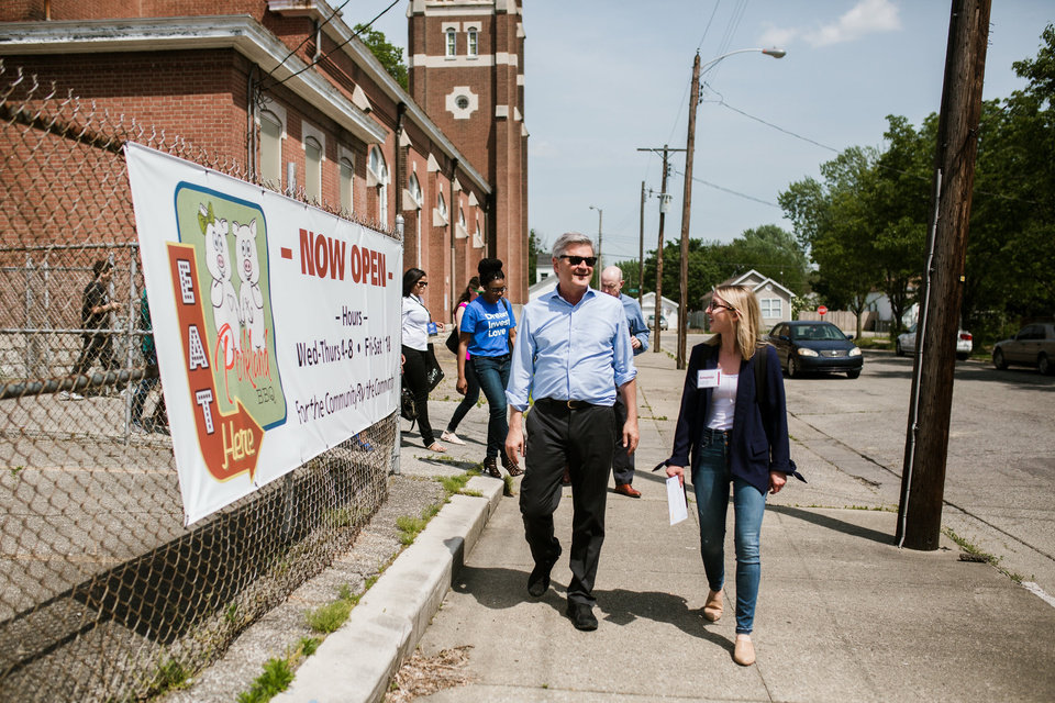Photo -  Revolution CEO Steve Case visits Louisville. Ky., during the Rise of the Rest road trip in 2018. He will travel through Oklahoma and other Midwest cities in April, focusing on startup development outside the traditional hubs like Silicon Valley. [PHOTO PROVIDED]
