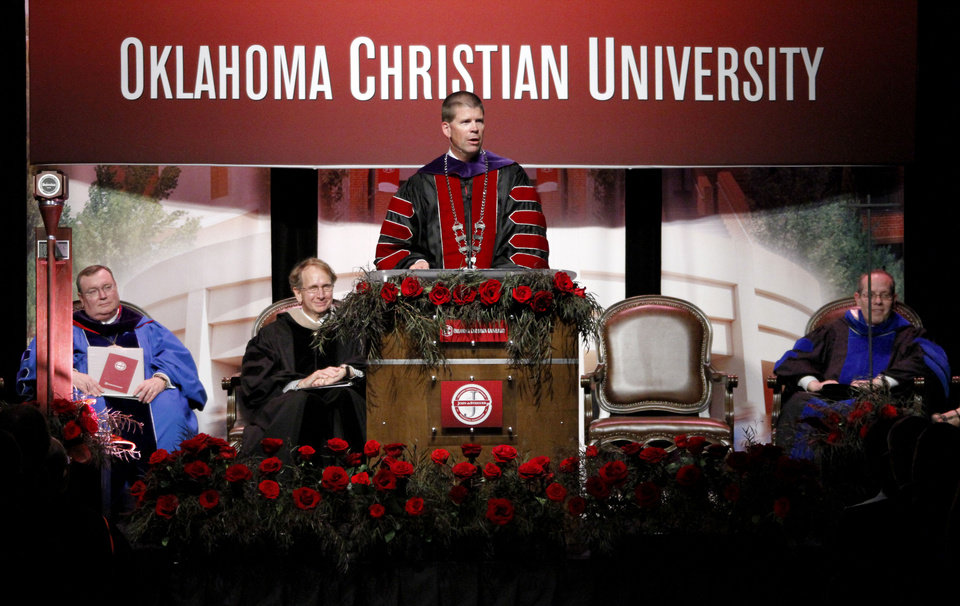 Photo - John deSteiguer, President of Oklahoma Christian University gives his presidential address to attendees of his inauguration in Oklahoma City, Monday August 27, 2012. Photo By Steve Gooch, The Oklahoman