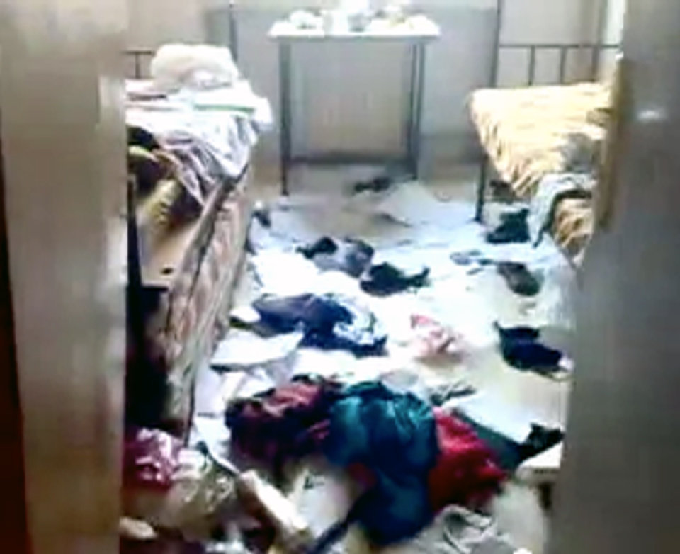 Photo -   This image made from amateur video released by Shaam News Network and accessed Thursday, May 3, 2012 purports to show damage to a dormitory at Aleppo University in Aleppo, Syria. Syrian security forces stormed dormitories at Aleppo University to break up anti-government protests, killing at least four students and wounding several others in an hourslong rampage that ended Thursday morning and left part of the campus in flames, activists and opposition groups said. (AP Photo/Shaam News Network via AP video) TV OUT, THE ASSOCIATED PRESS CANNOT INDEPENDENTLY VERIFY THE CONTENT, DATE, LOCATION OR AUTHENTICITY OF THIS MATERIAL