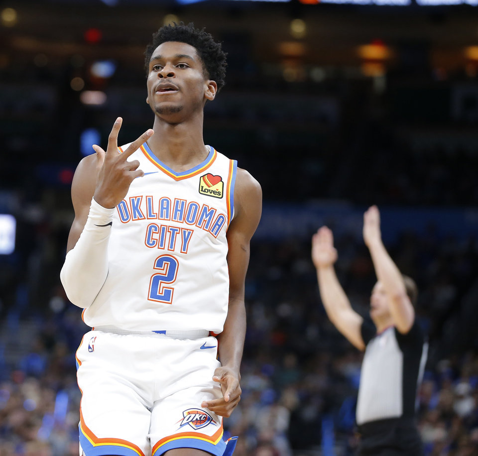 Photo - Oklahoma City's Shai Gilgeous-Alexander (2) celebrates after a basket during an NBA basketball game between the Oklahoma City Thunder and the Orlando Magic at Chesapeake Energy Arena in Oklahoma City, Tuesday, Nov. 5, 2019. [Bryan Terry/The Oklahoman]