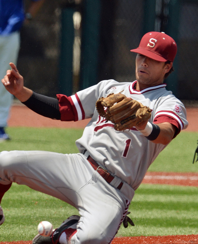Photo - Stanford's Alex Blandino drops a pop fly by an Indiana State batter during an NCAA college baseball tournament regional game Friday, May 30, 2014, in Bloomington, Ind. (AP Photo/Tribune-Star, Joseph C. Garza)