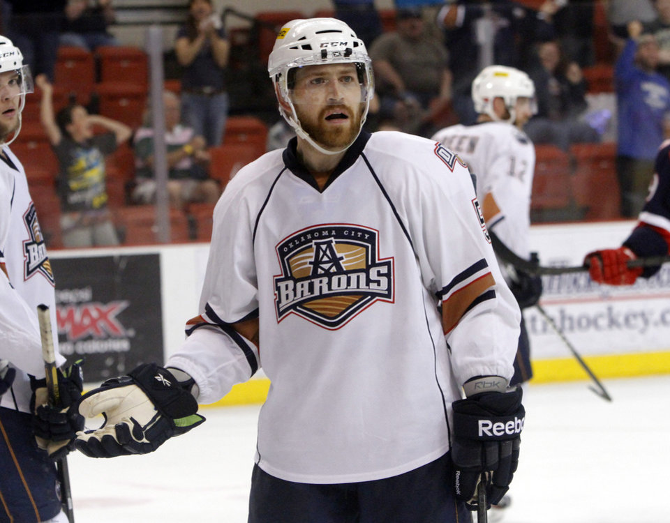 Oklahoma City Barons defender Garrett Stafford reacts to having a goal disallowed versus the Grand Rapids Griffins in the fourth game of the Western Conference finals of the AHL on June 1, 2013. Photo by KT KING, The Oklahoman ORG XMIT: OKC1306012126361033