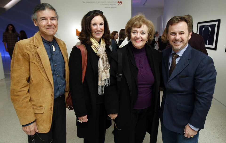 Comanche composer David Yeagley, Mary Frates, Lou Kerr and Museum Director Ghislain d'Humieres attend the student art show at Fred Jones Jr. Museum of Art at the University of Oklahoma (OU) on Friday, Jan. 18, 2013 in Norman, Okla.  Photo by Steve Sisney, The Oklahoman