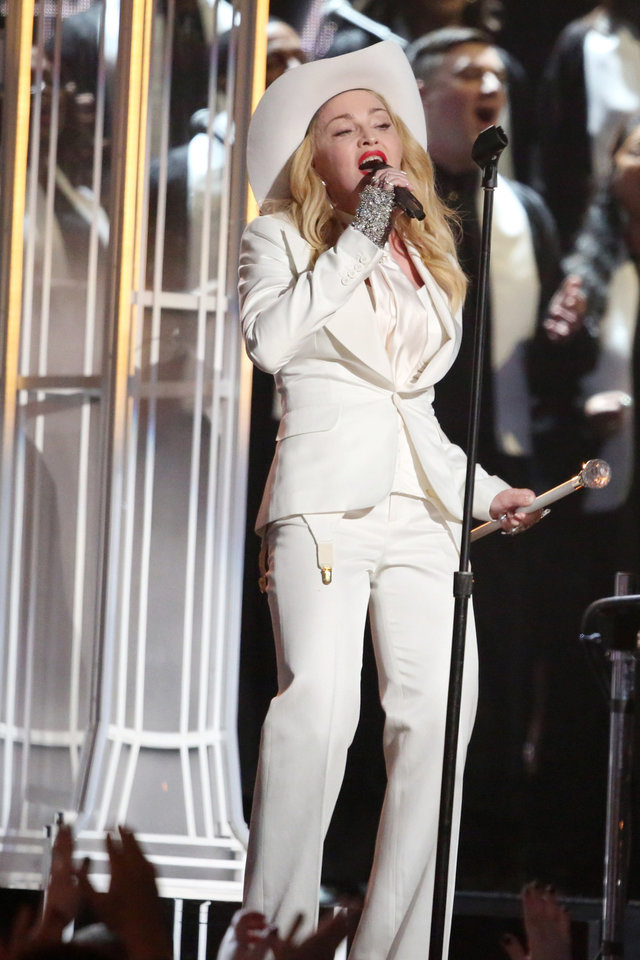 """Photo - Madonna performs """"Same Love"""" on stage at the 56th annual Grammy Awards at Staples Center on Sunday, Jan. 26, 2014, in Los Angeles. (Photo by Matt Sayles/Invision/AP)"""