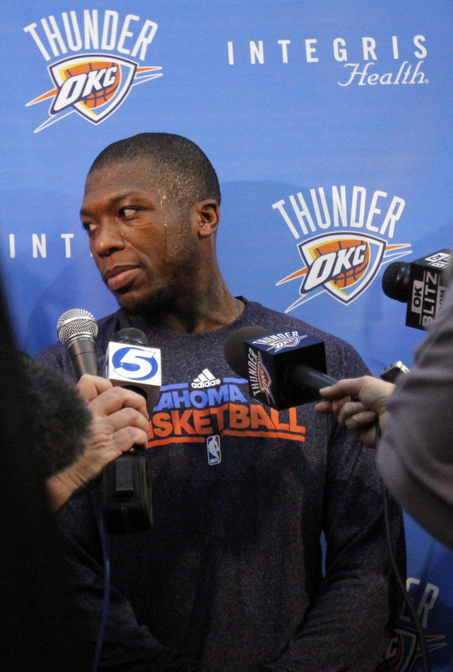 Oklahoma City\'s Nate Robinson talks to the media at the the Thunder practice facility, Saturday, Feb, 26, 2011, in Oklahoma City.Photo by Sarah Phipps, The Oklahoman