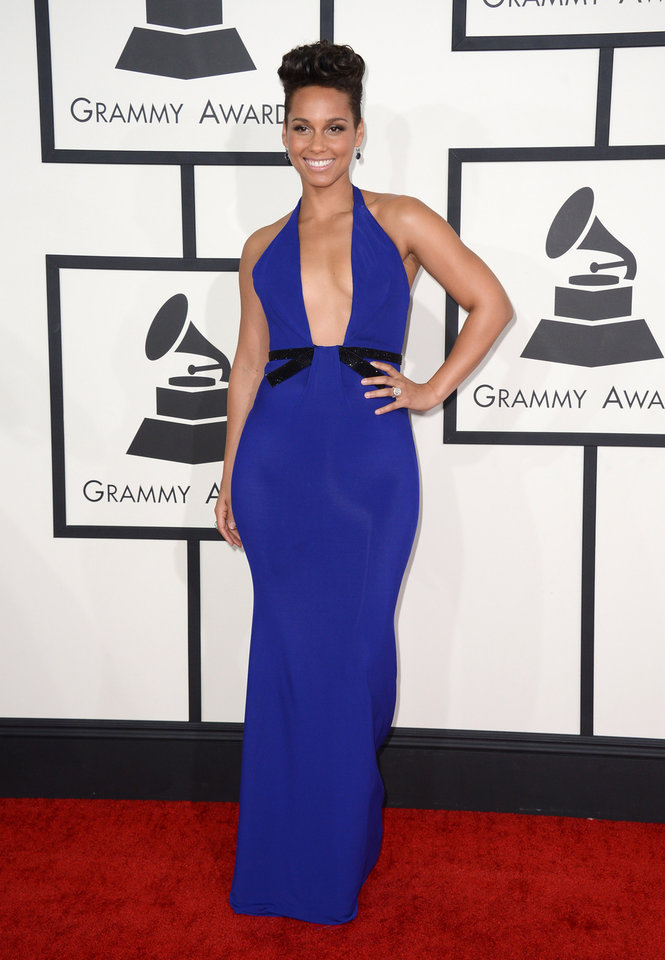 Photo - Alicia Keys arrives at the 56th annual Grammy Awards at Staples Center on Sunday, Jan. 26, 2014, in Los Angeles. (Photo by Jordan Strauss/Invision/AP)