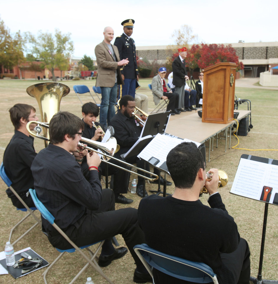 The Boulevard Brass Quintet plays as the University of Central Oklahoma Veteran Support Alliance honors veterans with a ceremony on Veterans Day at UCO's Plunkett Park in Edmond, OK, Friday, Nov. 11, 2011. By Paul Hellstern, The Oklahoman