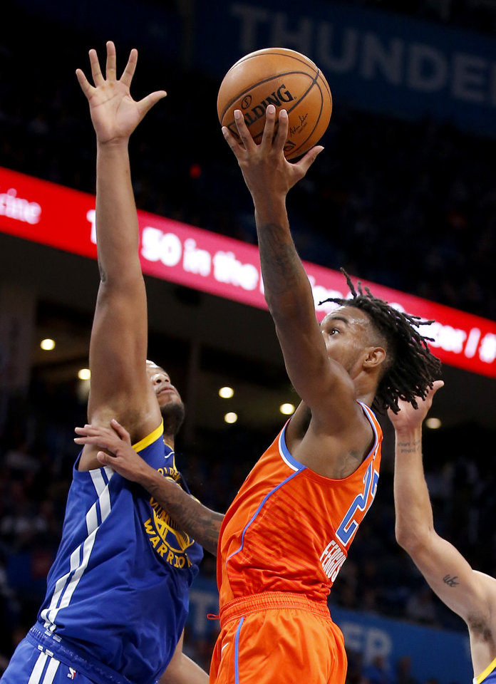 Photo - Oklahoma City's Terrance Ferguson (23) goes up for a basket during the NBA game between the Oklahoma City Thunder and Golden State Warriors at Chesapeake Energy Arena,  Sunday, Oct. 27, 2019. Thunder won 120-92.[Sarah Phipps/The Oklahoman]