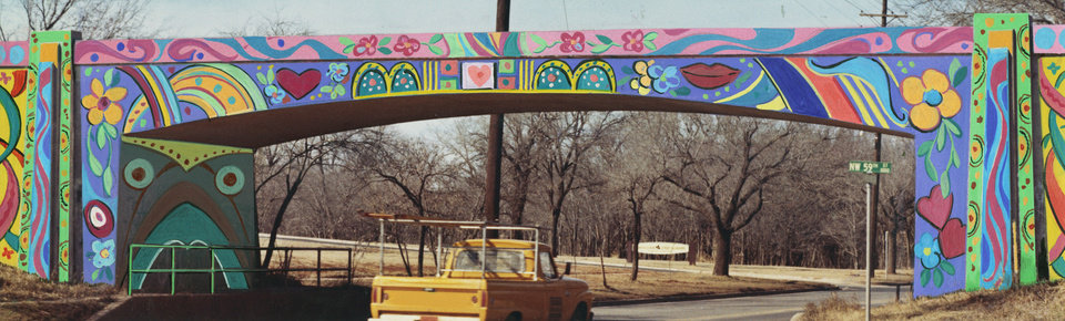 Photo - AFTER artist's touch-up adds a splash of color, underpass loses its school-kid letterings.  Staff photographer unknown.  Photo undated and published on 03/08/1968 in The Oklahoma City Times.