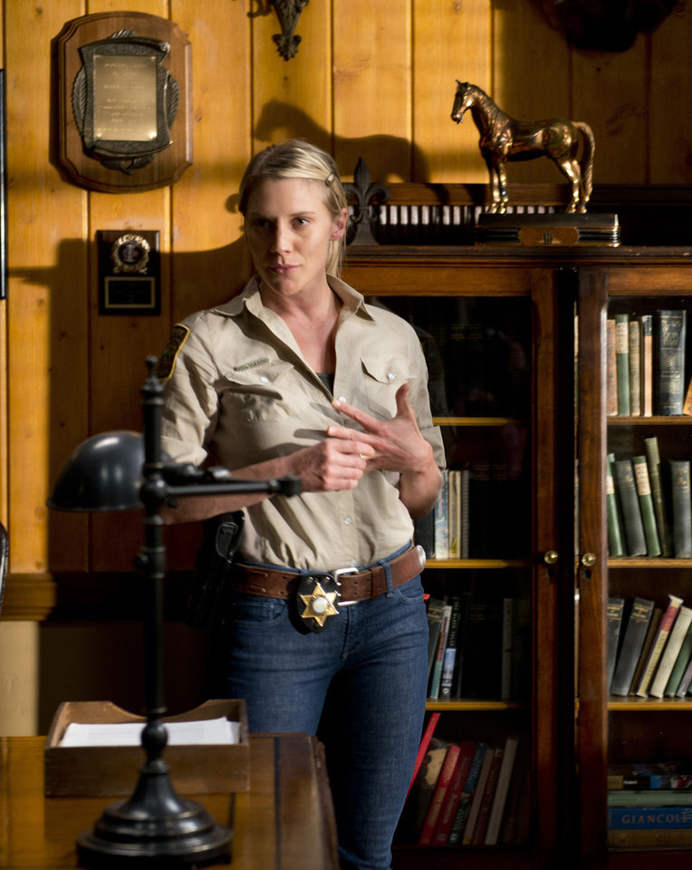 Left: Actress Katee Sackhoff plays Victoria Moretti in A&E�s �Longmire,� which will receive the Wrangler Award for Outstanding Fictional Drama in April in Oklahoma City. AP PHOTO