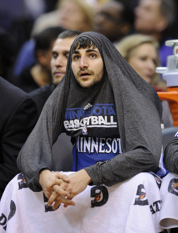 Minnesota Timberwolves point guard Ricky Rubio, of Spain, sits on the bench during the second half of an NBA basketball game against the Washington Wizards, Friday, Jan. 25, 2013, in Washington. The Wizards won 114-101. (AP Photo/Nick Wass)