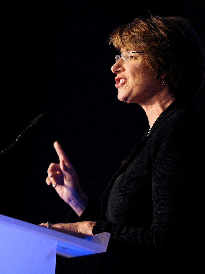 Photo -   U.S. Senator Amy Klobuchar, D Minn., speaks at an election night event at the Crowne Plaza on Tuesday, Nov. 6, 2012 in St. Paul, Minn. (AP Photo/Hannah Foslien)
