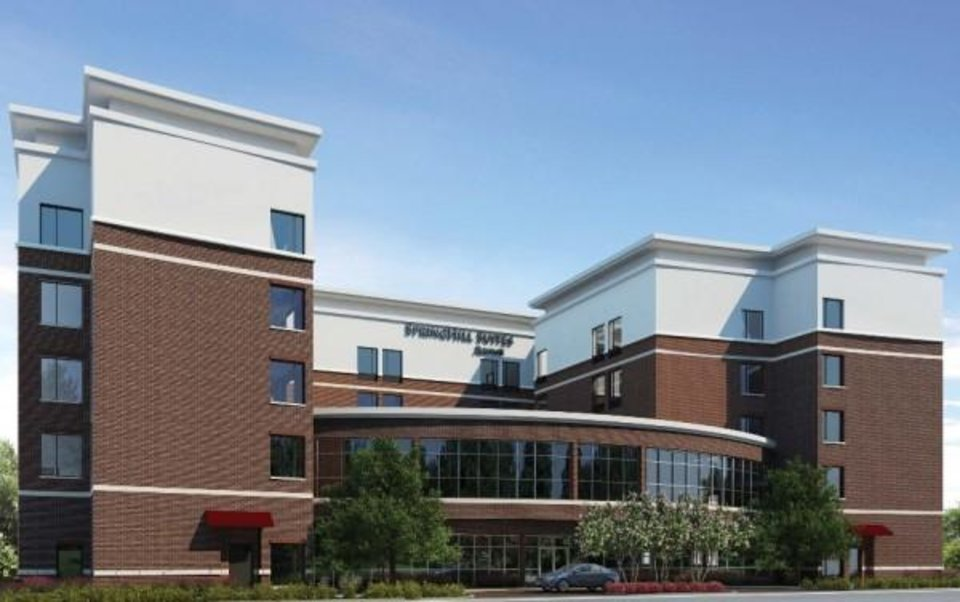 Photo -  The Springhill Suites by Marriott set to be built in east Bricktown is shown in this rendering. Drawing provided