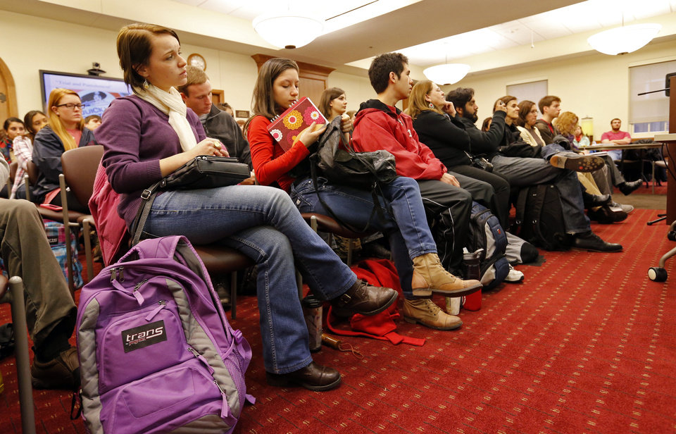 A standing-room-only crowd of students listen as Maria Alejandra Romero Niklison speaks on Activism and Human Rights during a symposium on Activism in Latin America at OU. Photo by Steve Sisney, The Oklahoman