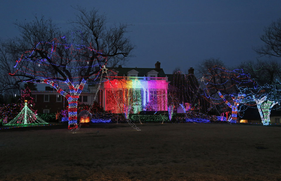 Photo - Christmas lights on Grand Blvd. in Nichols Hills, Okla., Sunday, Dec. 9, 2012. Photo by Nate Billings, The Oklahoman