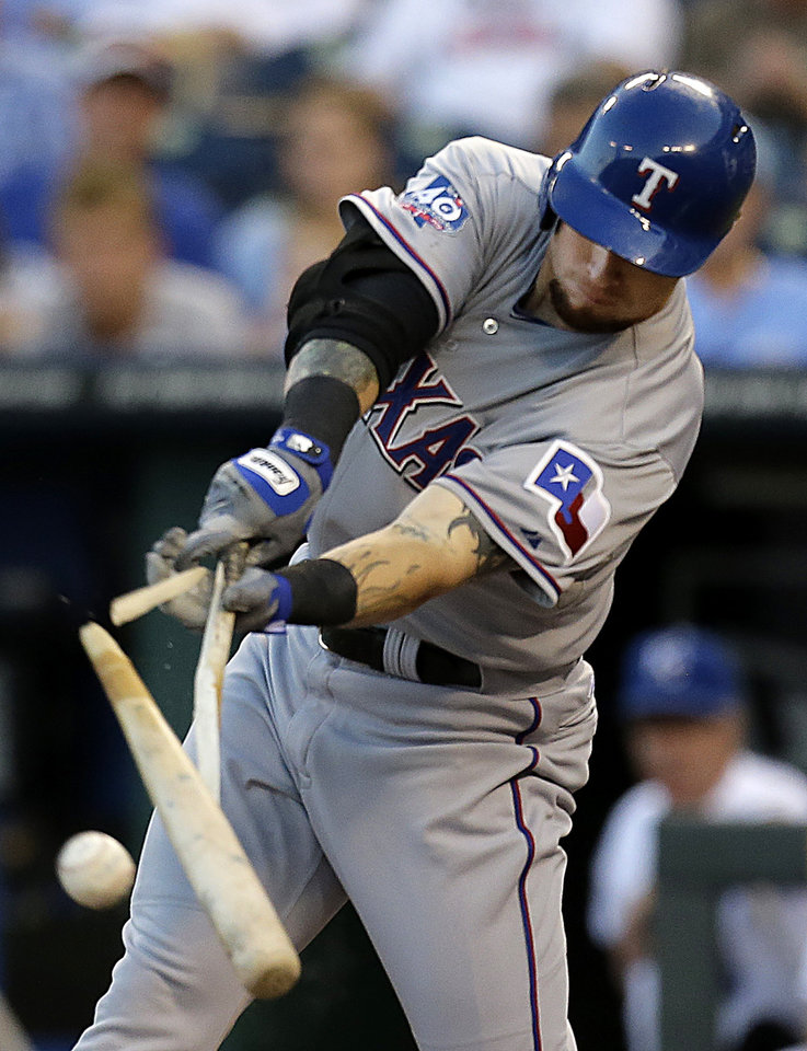 Photo -   Texas Rangers' Josh Hamilton breaks his bat as he flies out during the first inning of a baseball game against the Kansas City Royals, Thursday, Sept. 6, 2012, in Kansas City, Mo. (AP Photo/Charlie Riedel)
