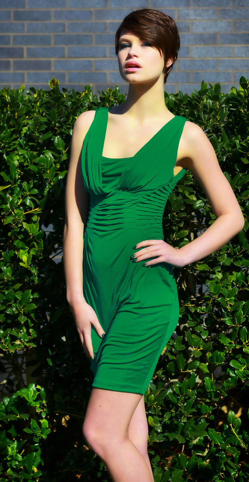 Catherine Malandrino sleeveless dress with pleated detail across waist and shoulders, available at Dillard\'s, Penn Square Mall. Model is Micayala. Photo by Chris Landsberger, The Oklahoman. CHRIS LANDSBERGER