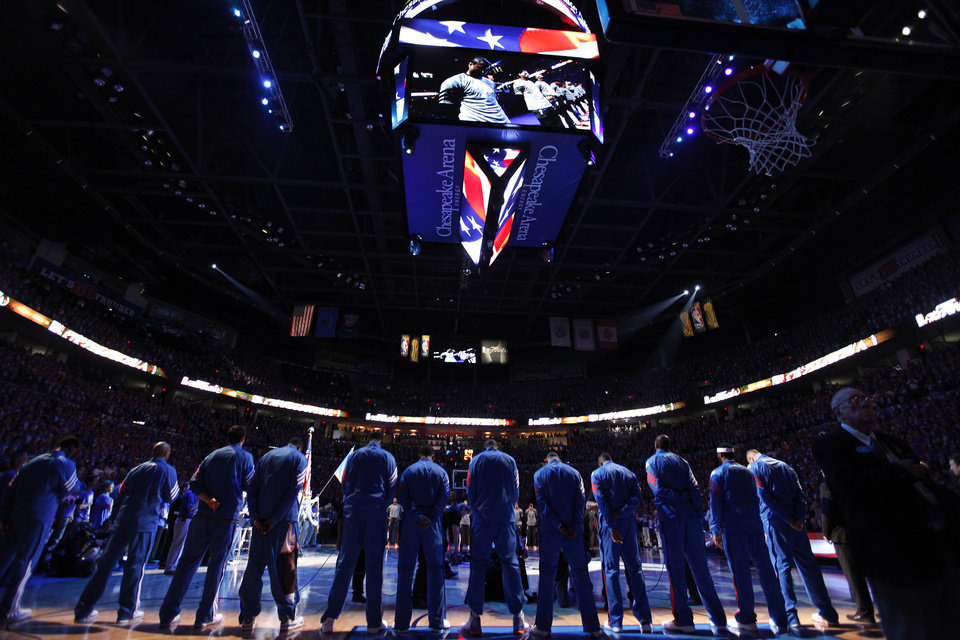 The Thunder stands during the national anthem before Game 1 of the NBA Finals between the Oklahoma City Thunder and the Miami Heat at Chesapeake Energy Arena in Oklahoma City, Tuesday, June 12, 2012. Photo by Chris Landsberger, The Oklahoman