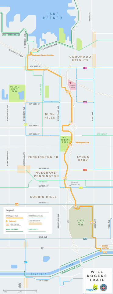 Photo - This map shows the Will Rogers Trail route through northwest Oklahoma City. [GRAPHIC PROVIDED]