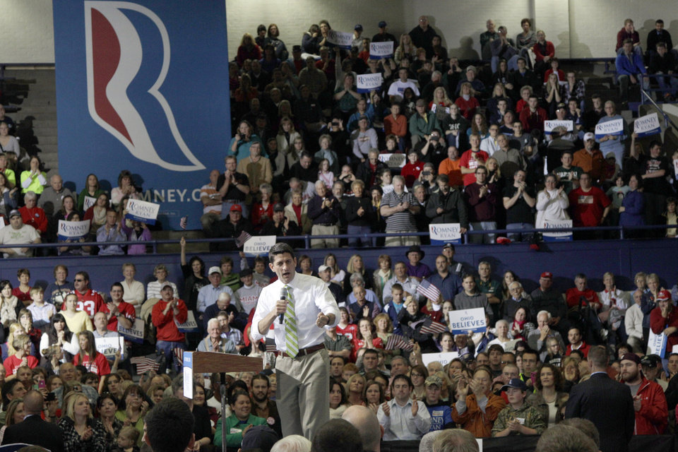 Republican vice presidential candidate, Rep. Paul Ryan, R-Wis., gestures as he speaks during a campaign event, Saturday, Nov. 3, 2012 in Marietta, Ohio. (AP Photo/Mary Altaffer)
