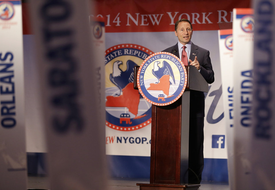 Photo - Republican nominee for governor Rob Astorino speaks during the New York State Republican Convention in Rye Brook, N.Y., Thursday, May 15, 2014. Republicans wrapped up their state party convention Thursday in Westchester County after nominating Astorino and other candidates for statewide office.  (AP Photo/Seth Wenig)