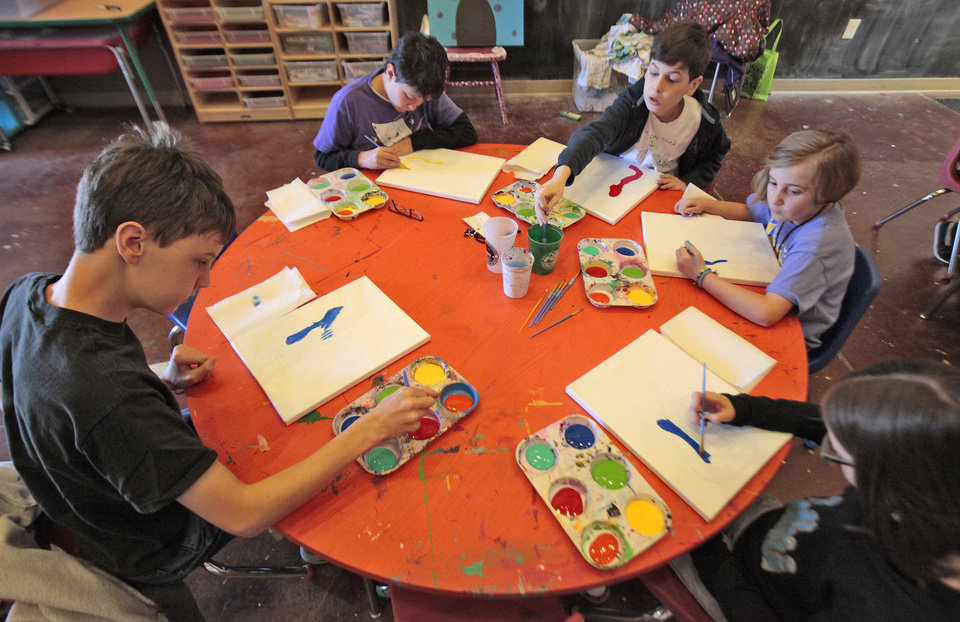 Students enjoying spring break express their artistic creativity at the Edmond Parks and Recreation Department's art camp. PHOTOS BY DAVID MCDANIEL, THE OKLAHOMAN