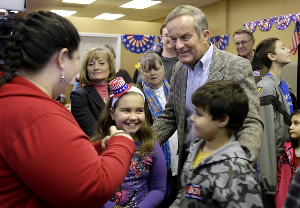 Photo -   Missouri Republican Senate candidate, Rep. Todd Akin, R-Mo., right, visits with supporters during a stop to a Republican campaign office Monday, Nov. 5, 2012, in Florissant, Mo. Akin is running against incumbent Sen. Claire McCaskill, D-Mo. (AP Photo/Jeff Roberson)