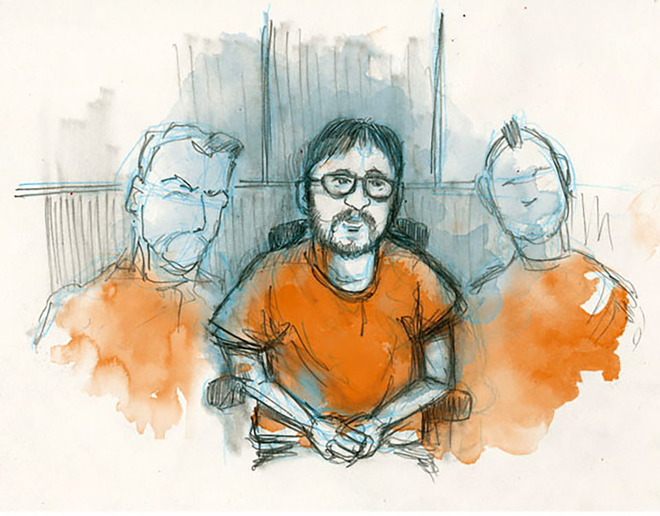 Photo - In this courtroom sketch, Jerry Drake Varnell, 23, is shown at his arraignment in Oklahoma City federal court. [Illustration by Todd Pendleton, The Oklahoman]