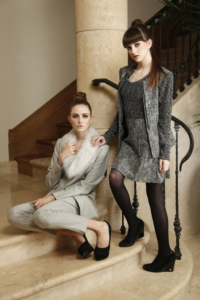 Photo - Gray pantsuit with removable faux fur collar and textured dress with matching jacket. Both are by Theory and available at CK & Co.  Makeup by L.J. Hill. Hair by Dianne Truong, Trichology Salon. Photo by Doug Hoke, The Oklahoman    DOUG HOKE